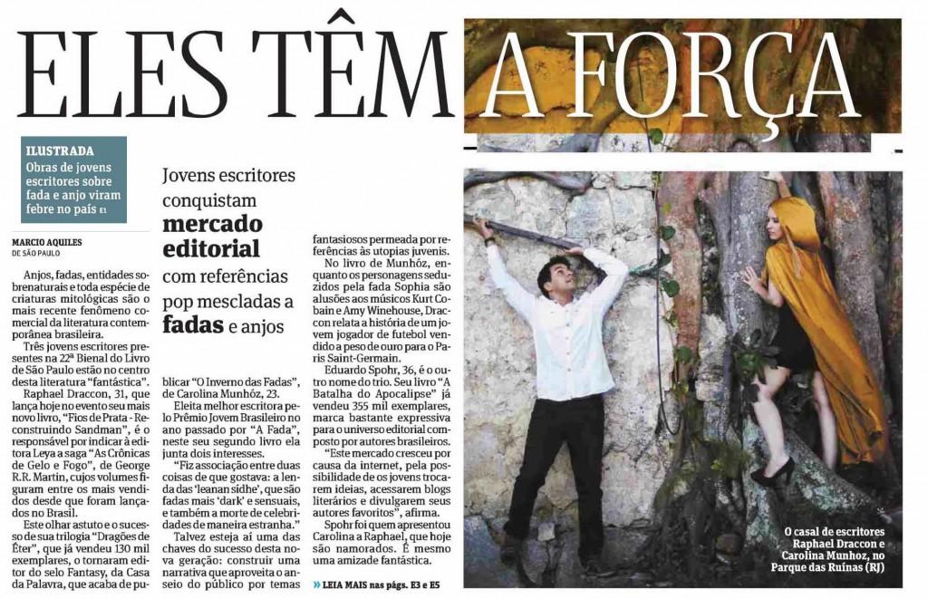 Capa do Ilustada da Folha de São Paulo - Casal Draccon e Munhóz